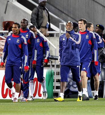 France players practice during a training session