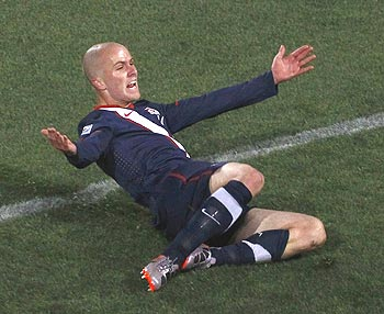 Michael Bradley celebrates after scoring the equaliser for the US