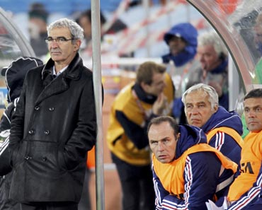 France coach Raymond Domenech looks on after the match