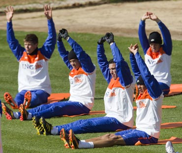 The Netherlands team during a warm-up session