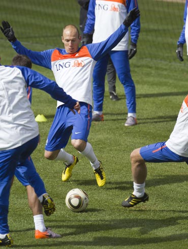 Arjen Robben during a training session