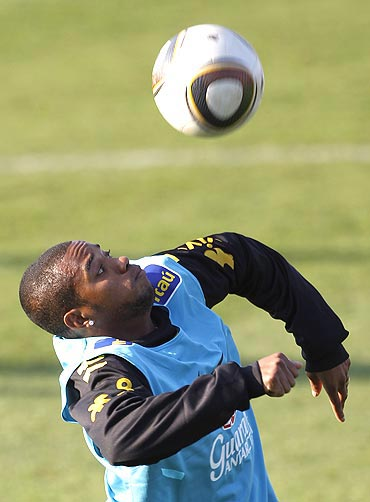 Robinho tries his tricks with the Jabulani