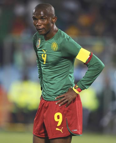 cameroon's samuel eto'o reacts after their loss against denmark