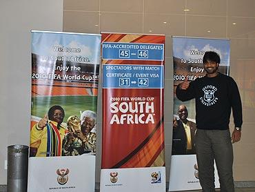 Siddhanta Pinto at Johannesburg airport