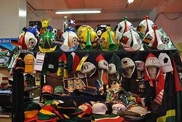 A shop displays football memorabilia