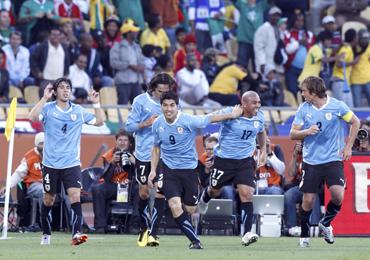 Luis Suarez with his Uruguayan teammates
