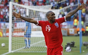 Jermaine Defoe celebrates after scoring for England