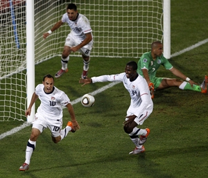Landon Donovan celebrates after scoring the winner