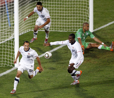 United States' Landon Donovan (L) celebrates after scoring against Algeria during a 2010 World Cup Group C soccer match at Loftus Versfeld stadium in Pretoria
