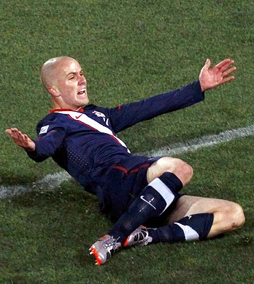Michael Bradley celebrates after scoring the equaliser against Slovenia