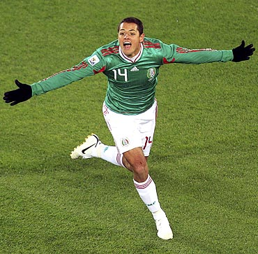 Mexico's Javier Hernandez celebrates his goal against France