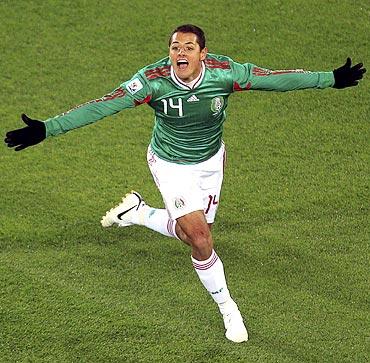 Mexico's Javier Hernandez celebrates his goal against France