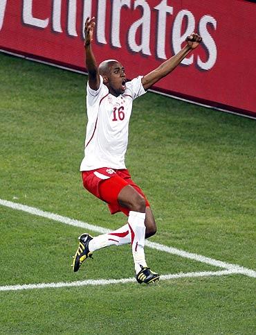 Switzerland's Gelson Fernandes celebrates after scoring against Spain