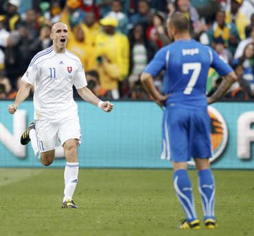 Slovakia's Robert Vittek celebrates his goal