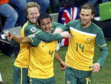 Australia's Tim Cahill celebrates fater scoring