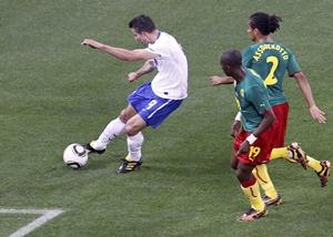 Robin van Persie scores for the Netherlands