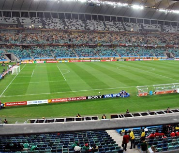 Wide shot of the stadium in Durban. In person the ground looked surprisingly small. My Cooperage back home would be slightly bigger than this one