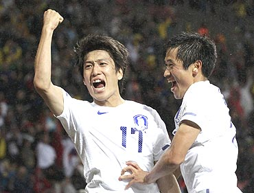 South Korea's Lee Chung-yong celebrates his goal during the 2010 World Cup second round match against Uruguay in Port Elizabeth