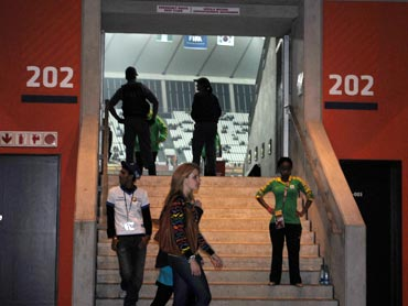 At the entrance of the Moses Mabhida stadium