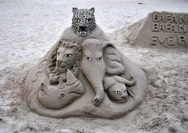 Sand carvings of SA's popular animals