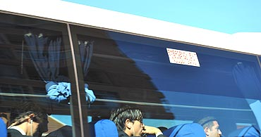 Uruguayan players in the team bus