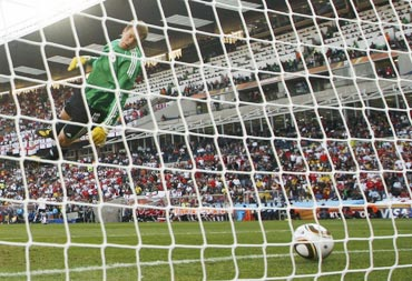 Germany's goalkeeper Manuel Neuer watches as the ball crosses the line