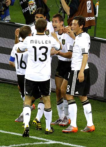 Germany's players celebrate a goal