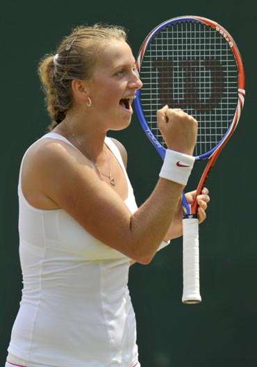 Petra Kvitova celebrates after winning