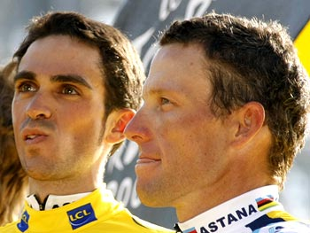 Alberto Contador (left) with Lance Armstrong