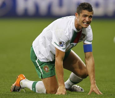 Cristiano Ronaldo reacts during his match