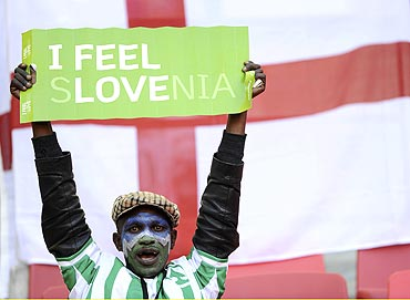 A banner in support of Slovenia