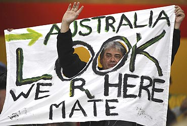 An Australian supporter shows his loyalty