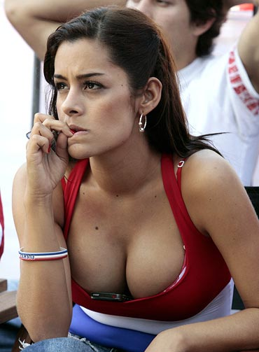 Larissa Riquelme watches the World Cup matches in Asuncion