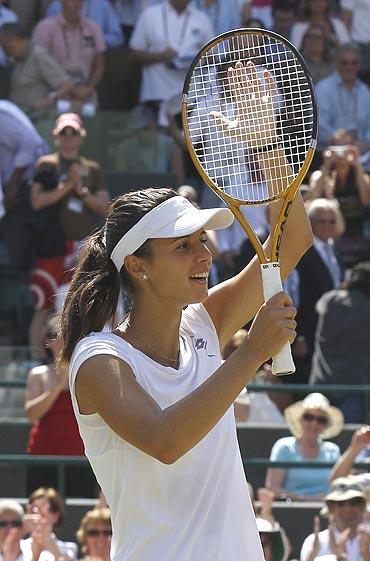 Tsvetana Pironkova reacts after beating Venus Williams