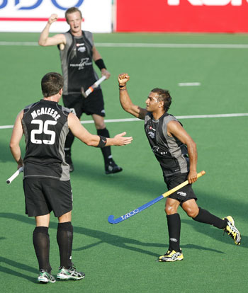 New Zealand team celebrate after scoring