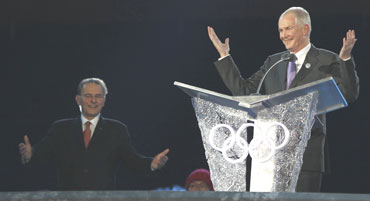 Vancouver 2010 CEO John Furlong speaks at the closing ceremony of the Vancouver 2010 Winter Olympics