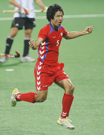 South Korea's Nam celebrates after scoring the second goal during their match against Argentina