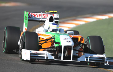 Force India's Adrian Sutil during a practice session