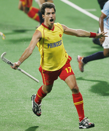 Spain's Albert Sala celebrates after scoring the team's first goal during their match against India