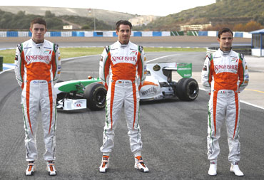 Force India drivers at the launch of the car