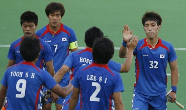 Jong Hyun Jang celebrates after scoring a hat-trick