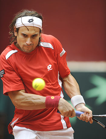 Spain's David Ferrer in action during his Davis Cup tie on Sunday