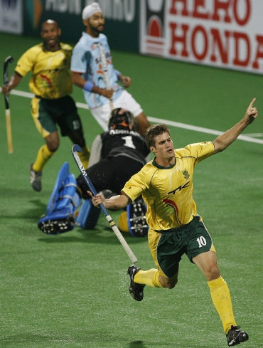 South Africa's Norris-Jones celebrates after scoring the first goal against India