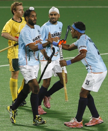 Sarvanjit celebrates after scoring the equaliser