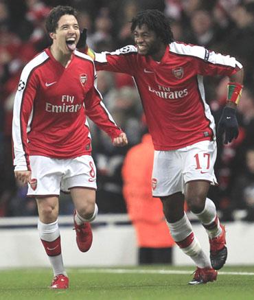 Samir Nasri celebrates after scoing a goal