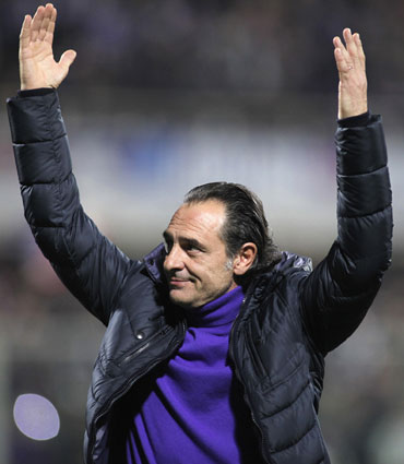 Cesare Prandelli reacts during the match