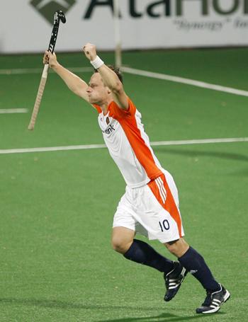 The Netherlands' Taeke Taekema celebrates scoring a goal against Australia during their semi-final match