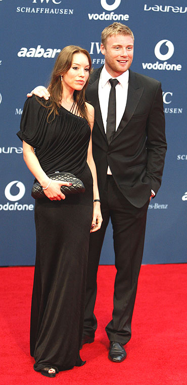 England all-rounder Andrew Flintoff poses with his wife Rachael Woods on the red carpet as they arrive for the Laureus World Sports Awards