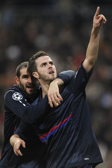 Miralem Pjanic celebrates after scoring