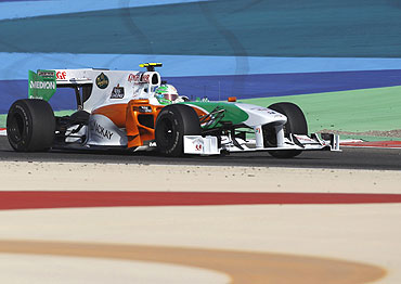 Force India's Vitantonio Liuzzi drives during the Bahrain GP